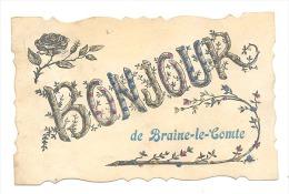 Bonjour De BRAINE - LE - COMTE - Carte Avec Paillettes  (Y317)b146 - Braine-le-Comte
