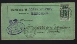 1938  LETTERA CON ANNULLO COSTA VOLPINO BERGAMO - 1900-44 Victor Emmanuel III