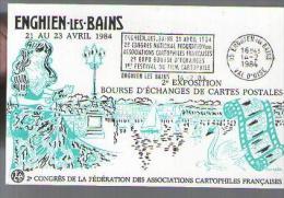 Jolie CP 95 Enghien Dessin Du Casino Et Du Lac - Cachet Congrès Des Asso Cartophiles - CAD 14-02-1984 - Bourses & Salons De Collections