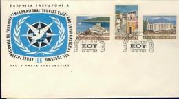 DV1-5b GREECE 1967 FDC YV 933-935 INTERNATIONAL TOURIST YEAR, ARCHITECTURE, ARCHITECTUUR. - Monumenten