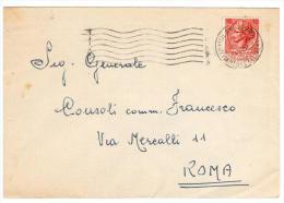 STORIA POSTALE SIRACUSANA  ISOLATO £.10 DA MILANO AVVIAMENTO CELERE PER ROMA (AG184) - 6. 1946-.. Repubblica