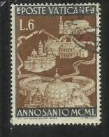 VATICANO VATICAN VATIKAN  1949 ANNO SANTO 1950 HOLY YEAR LIRE 6 USATO USED - Gebraucht