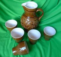 Vintage Germany Pottery GDR Jug PITCHER & 5 CUP Mug 240-23 G 153-9 Craquelure - Unclassified