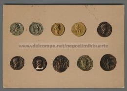 T4498 MONETE ROMANE IN ORO RAPPRESENTAZIONE IN CARTOLINA VG Asportazione (m) - Monete (rappresentazioni)