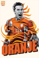 STICKER SIZE.6,5X9,5 CM. APROX - WORLD CUP FOOTBALL BRASIL 2014 - NETHERLANDS - Stickers