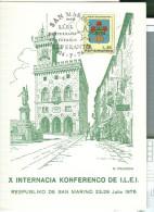 X INTERNACIA  KONFERENCO  ESPERANTO, SAN MARINO, 1976, ANNULLO SPECIALE SU CARTOLINA DEDICATA, - Esperanto