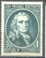 AUSTRIA. Scott# 594, Painter Michael Rottmayr Von Rosenbrunn, MLH(*) - Celebrità