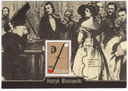 Poland Maximum Card, Composer, Violinist Henryk Wieniawski, Music, Canceled In Poznan 1986, Stamp 1977 Jewish - Cartes Maximum