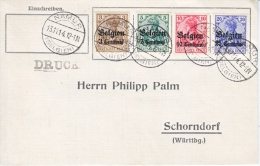 GERMAN  OCCUPATION  BELGIUM  COVER  1914 - Occupation 1914-18