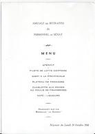 Menu,Retraités Du Personnel De Sénat 1986 - Menus