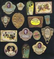 15 Etiquettes De Parfum, La Plupart Gaufrées Et Découpées. Art Nouveau Perfume Labels (Ref.34491) - Labels