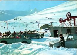 < Automobile Auto Voiture Car >> Fiat Seat 1800, Renault 8, 4L, Neige Ski, Valls D'Andorra - Passenger Cars