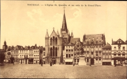 Cp Tournai Wallonien Hennegau, L'Eglise St. Quentin, Grand' Place - Belgium