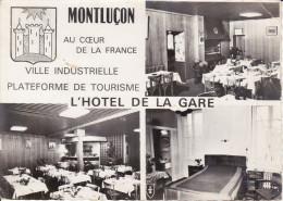 CPSM MONTLUCON ALLIER L HOTEL DE LA GARE 2 EME CHOIX BLASON MULTI VUES - Montlucon