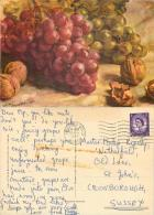 Grapes And Walnuts Postcard Posted 1967 Stamp - Farms
