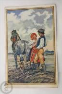 Old Illustrated Postcard Slovakia - Romantic Scene - Countryside - L. Novak: Na Poli - Unposted - Eslovaquia