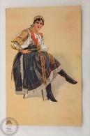 Old Illustrated Postcard Slovakia - Girl In Regional Costume - Devce Z Pisfan - Unposted - Eslovaquia