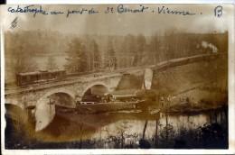 TRANSPORTS - TRAINS - CARTE PHOTO - DERAILLEMENT RAPIDE BORDEAUX PARIS - ST BENOIT VIENNE - Eisenbahnen
