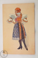 Old Illustrated Postcard Slovakia - Devce Z Uh. Ostroha - Girl In Regional Costume - Unposted - Eslovaquia