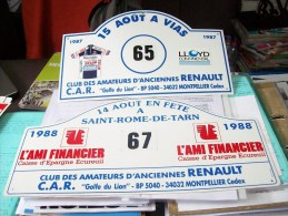 LOT PLAQUE RALLYE RALLIES CAR CLUB ANCIENNE RENAULT 1987-88 VIAS ROME TARN 81 12 5 ALPINE TURBO Berlinette A110 310 2 U. - Plaques De Rallye