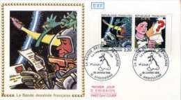 X France, FDC 2V  - 1988 - Communication - Bande Dessinée Française - Mezières - 16 Festival Angoulême. ALIEN - Francia