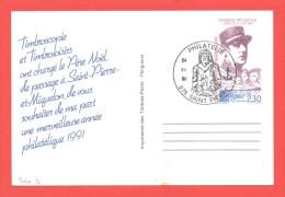 Philatélie 24.XII.90 Saint Pierre Sur Entier Charles De Gaulle - Entiers Postaux
