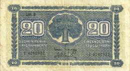 FINDLAND 20 MARKKAA BLUE MOTIF FRONT & BACK SN VARIETY DATED 1945 P86 AFV READ DESCRIPTION !! - Finland
