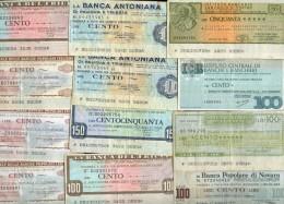 X LOTTO 12 MINIASSEGNI BANCHE ITALIANE COME DA FOTO - Monete & Banconote