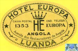 Voyo HOTEL EUROPA Luanda Angola  Hotel Label 1960s Vintage - Etiquettes D'hotels