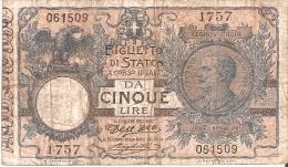 BILLETE DE ITALIA DE 5 LIRAS DEL AÑO 1904 -VITORIO EMANUELE III  (BANKNOTE) FIRMAS RARAS - Italia – 5 Lire
