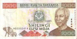 BILLETE DE TANZANIA DE 1000 SHILINGI DEL AÑO 2000 (BANKNOTE) ELEFANTE-ELEPHANT - Tanzanie