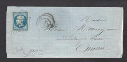 FRANCE N° 14  Obl. S/Lettre Entiére PC 3379 Toucy - 1853-1860 Napoleon III