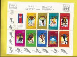 Bloc De 10 Timbres Jeux OLYMPIQUES  De SAPPORO 1972 Et INNSBRUCK 1976 Voir Scanners - Corée Du Nord