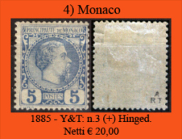 Monaco-004 - 1885 - Y&T: N. 3 (+) LH - Privo Di Difetti Occulti. - Monaco