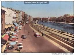 """Sète (Hérault) - Le Quai Général Durand Animé, Filets étendu, Bar """"La Marine"""" - Sete (Cette)"""