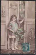 = Bonne Année, Petite Fille Avec Houx, Avec Timbre N°137 Semeuse 5c Vert Cachet 1913 - New Year