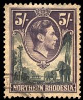~~~ North Rhodesia 1938 - George VI -  5 Shilling - Fauna Giraf Elephant - Mi. 43 (o) ~~~ - Rhodésie Du Nord (...-1963)