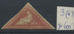 CAPE OF GOOD HOPE  3 (*)  Sans Colle   No Glue      Cote Yv. 600 E - Capo Di Buona Speranza (1853-1904)