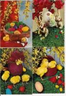 Très Joli Lot De 8 CPSM - Fantaisie - Fêtes  -  PÂQUES  - Poussins, Oeufs, Petit Lapin, Fleurs - Pâques