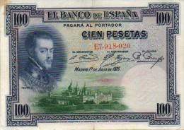 ESPAÑA BILLETES LOTE 17 CIEN PESETAS FELIPE CIRCULADO DOBLECES EN EL CENTRO - [ 2] 1931-1936 : République