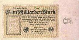 Deutschland, Germany - 5 Mrd. Mark, Reichsbanknote, Ro. 112 A,  ( Serie D ) XF ( II ), 1923 ! - [ 3] 1918-1933 : Repubblica  Di Weimar