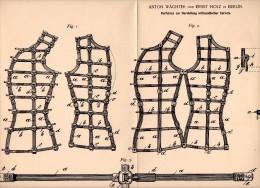 Original Patent - Orthopädisches Korsett , Corset , Corsage  , 1882 , A. Wächter Und E. Holz In Berlin , Orthopädie !!! - Leibwäsche