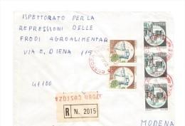 ITALIA Storia Postale 1986 - CASTELLI £.600 E £.400,RACCOMANDATA CUSTOZA ANNULLI ROSSI (AG190) - 1946-.. République