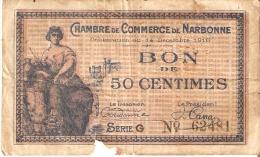 BILLETE DE FRANCIA DE 50 CENTIMES DEL AÑO 1916  (BANKNOTE) NARBONNE (RARO) - Cámara De Comercio