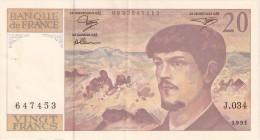 BILLETE DE FRANCIA DE 20 FRANCS DEL AÑO 1991  (BANKNOTE) CLAUDE DEBUSSY - 20 F 1980-1997 ''Debussy''