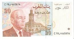 BILLETE DE MARRUECOS DE 20 DIRHAMS DEL AÑO 1996  (BANKNOTE-BANK NOTE) SIN CIRCULAR-UNCIRCULATED - Marruecos