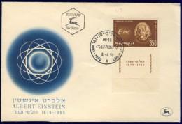 DV1-24b ISRAEL 1955 FDC MI 132 ALBERT EINSTEIN, NOBELPRICE WINNER. - Albert Einstein