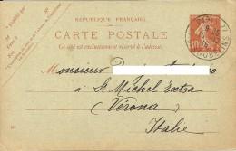 FRANCE Industries Du Cuir X VERONA Entier Postale Pour Italie Renouvellement Abonnement A Le Journal La Halle Aux Cuirs - Covers & Documents