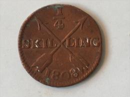 SUEDE 1/4 SKILLING 1808 - Suède