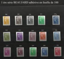 BEAUJARD 1 ére SERIE ADHESIVE EN FEUILLE DE 100 N° 179A ET 208 à 221 - France